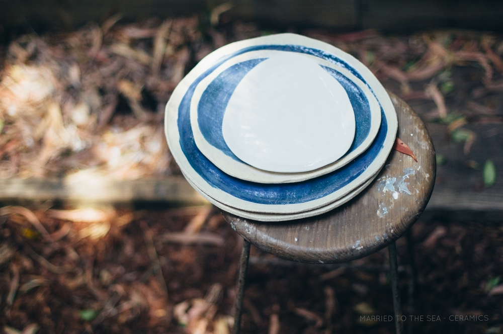 Blue Bottle Dinner Plates with white side plate