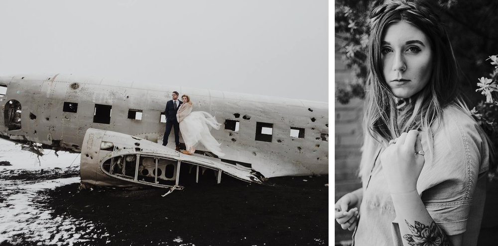 Left: phone shot by laurenapelphoto.com at sólheimasandur in iceland // Right: http://taylortorres.co in bishop arts district, dallas, tx