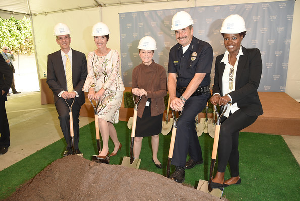 President UCLA Health David Feinberg, Cheryl Saban, Gail Abarbanel, LAPD Police Chief Charlie Beck, and actress Viola Davis attend The Rape Foundation's groundbreaking ceremony for construction of a New Stuart House for sexually abused children on May 2, 2014 in Santa Monica, California.