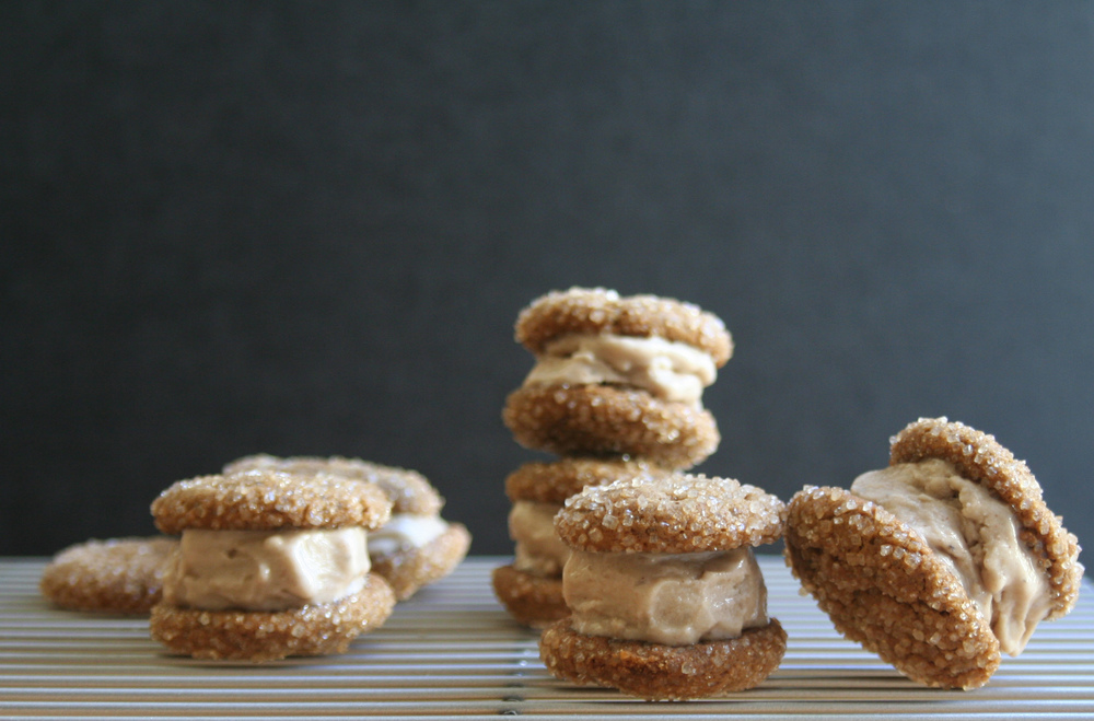 soft ginger ice cream cookie sandwiches