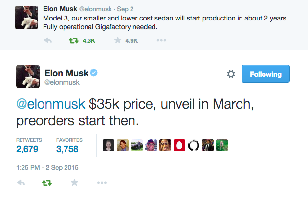 elon musk tweets Tesla model 3 unveil in March