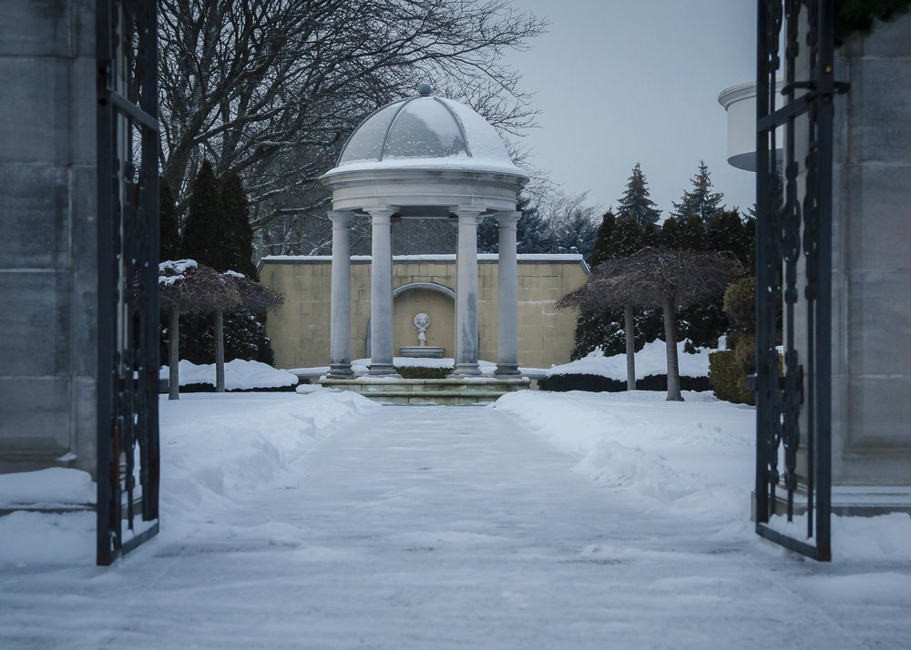 A wide angle perspective of the gazebo from the entrance of the gardens.