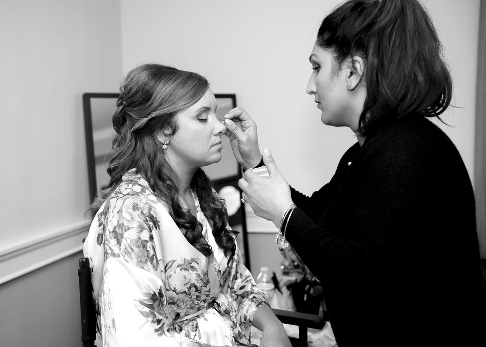 The bride getting ready and preparing for her big day!