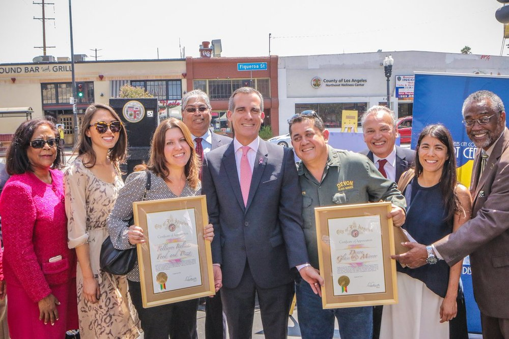 Mayor Garcetti launched Great Streets Great Business in August 2016 on North Figueroa Street.