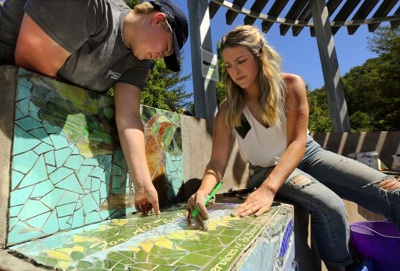 The press democrat - August 4, 2017Written by Dan Taylor, he introduces the new Children's Memorial Grove mosaic project underway in Spring Lake Regional Park located within Santa Rosa, Ca. An area that was once overlooked is getting colorful additions in the form of custom commemorative mosaics.