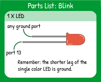 Blink Project Hookup: 1 LED in pin 13. Remember the shorter leg of the LED is ground