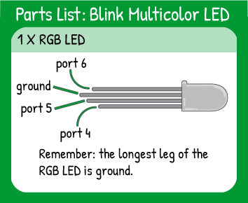 Blink Multicolor LED Hookup: 1 multicolor LED on pins 4,5,6. Remember the longest leg of the multicolor LED is ground.