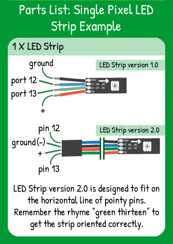 Single LED Pixel Example Hookup: LED Strip with Red in 5V, Green in 13, Blue in 12, Black in ground.