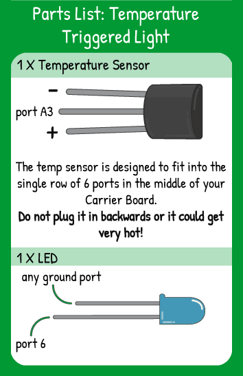 Temperature Triggered Light Hookup: 1 temperature sensor in horizontal pin A3, 1 LED in pin 6. The temp sensor should be oriented like the transistor next to it.