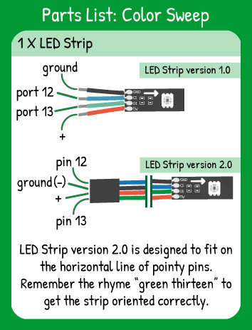 Color Sweep Hookup: LED Strip with Red in 5V, Green in 13, Blue in 12, Black in ground.