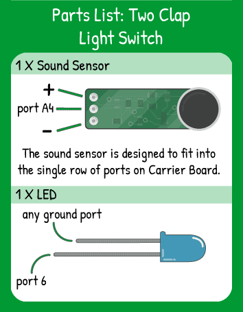 Two Clap Light Switch Hookup: 1 sound sensor in horizontal pin A4, 1 LED in pin A6. Remember that the shor leg of the LED is ground.