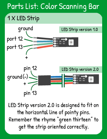 Color Scanning Bar Hookup: LED Strip with Red in 5V, Green in 13, Blue in 12, Black in ground.