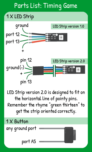 Color Sweep Hookup: LED Strip with Red in 5V, Green in 13, Blue in 12, Black in ground, 1 button in pin A5.