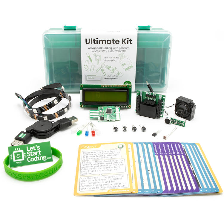 Ultimate Kit goes above and beyond with sensors, a screen, & programmable LED strip. Recommended ages 12+