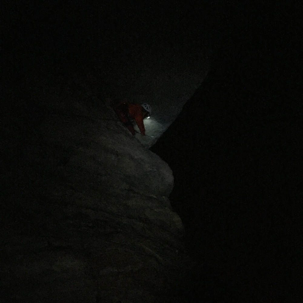 There is no better climb at the Gunks to sandbag a first timer on than High Exposure. The fact that it was pitch black was icing on the cake!