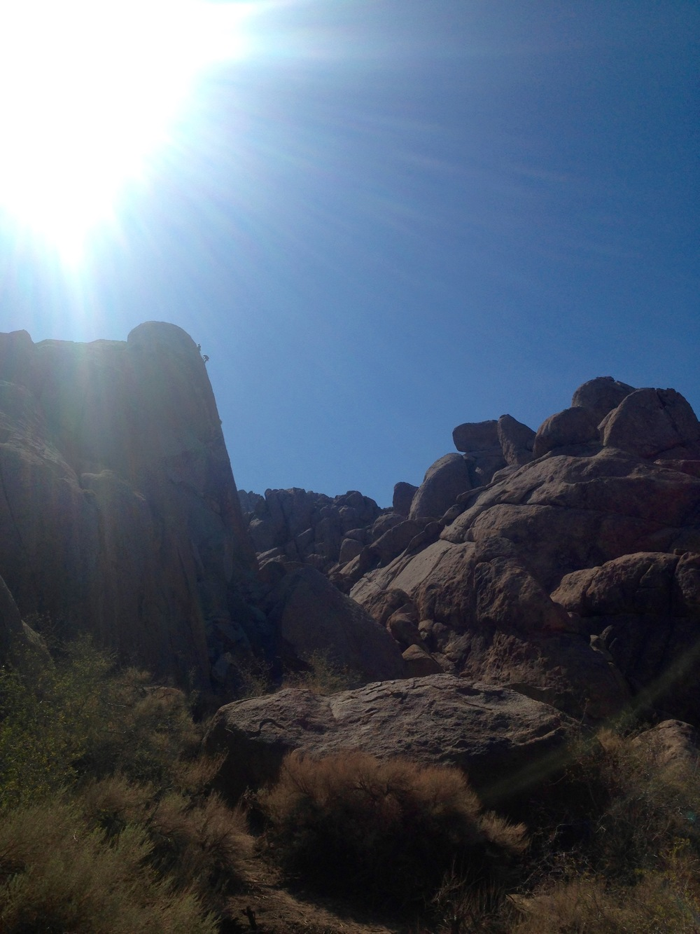 Climbing in Alabama Hills.