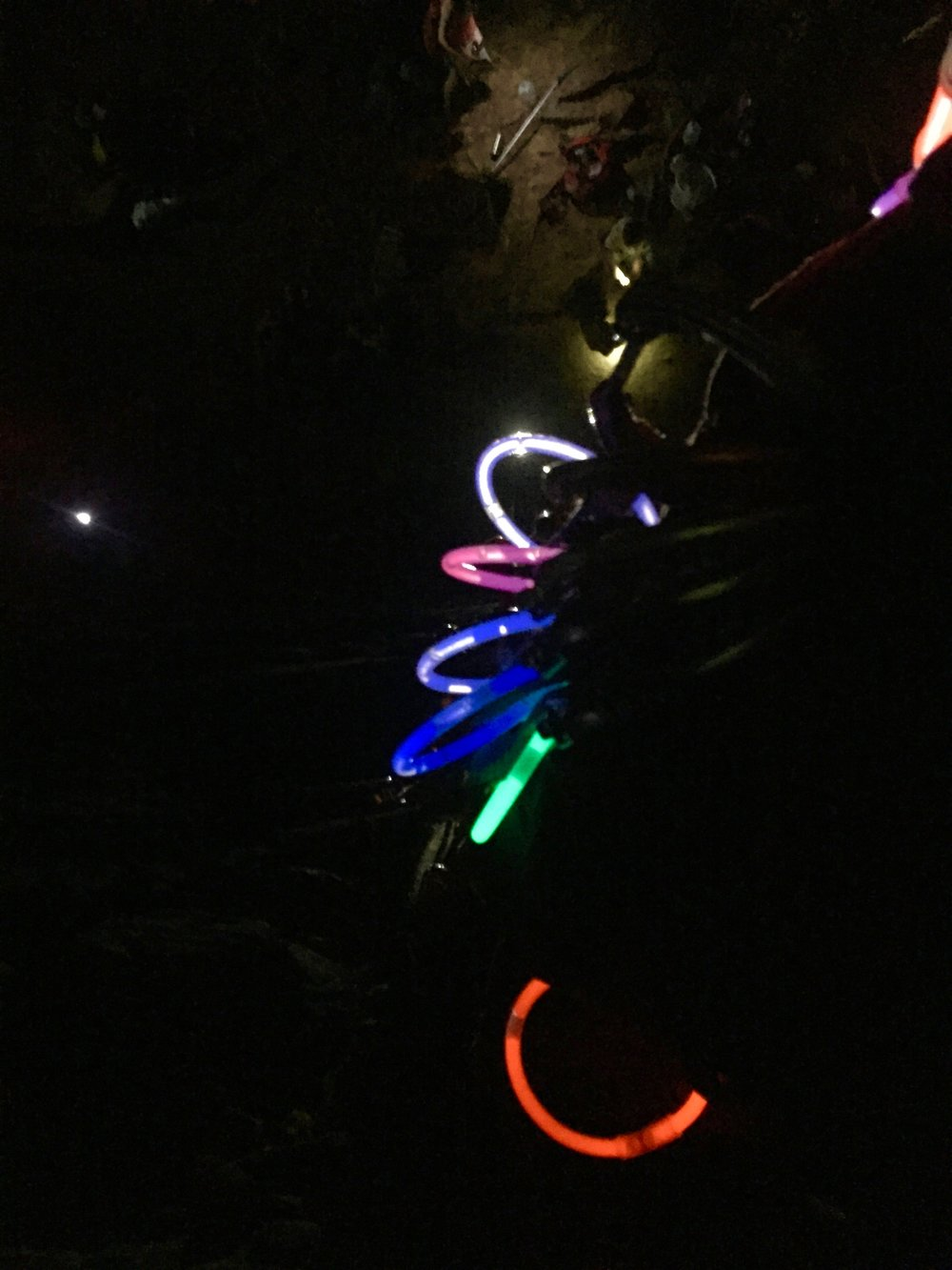 Glow sticks on all draws are a requirement for night climbing