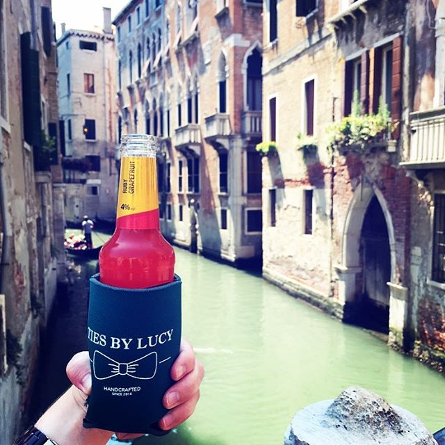 Been wondering why you haven't seen any Ties by Lucy posts lately? Our owner and crafter is in Europe for the summer and hasn't been taking orders. Have no fear - she'll be back in full swing in mid July with new styles that we're sure you'll love! Thanks for all the support xoxo 🌍 #bowtie #menswear #koozie #venice #italy #travel