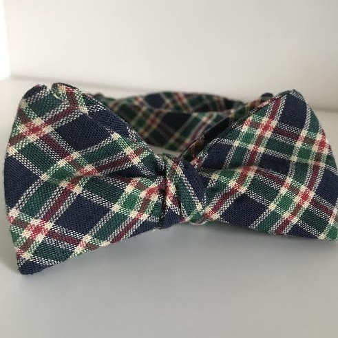 Navy, green, & red tartan plaid