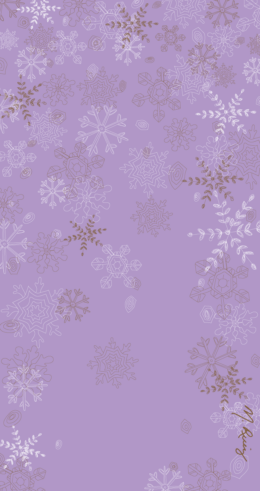Purple Snowflake Flurry Mobile Wallpaper - 852px x 1608px
