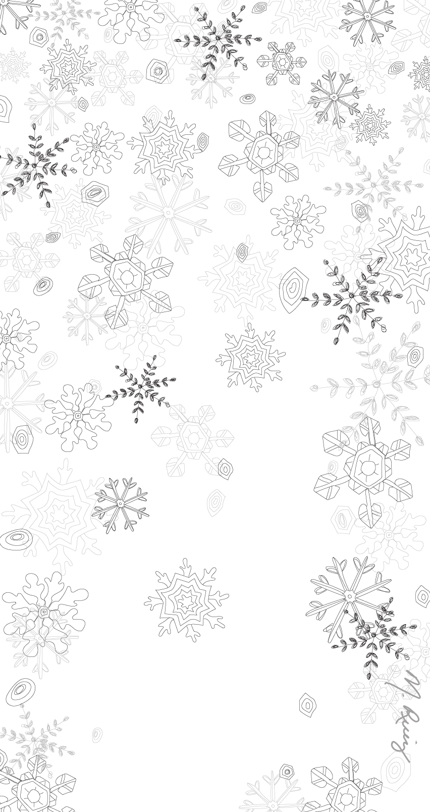 White Snowflake Flurry Mobile Wallpaper - 852px x 1608px