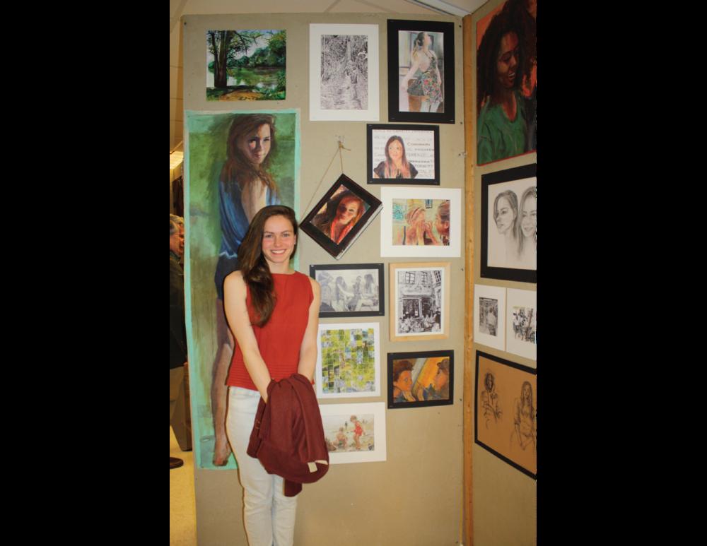 Me and my work at the VAC 2013-2014 Art Show; Albert Einstein High School.