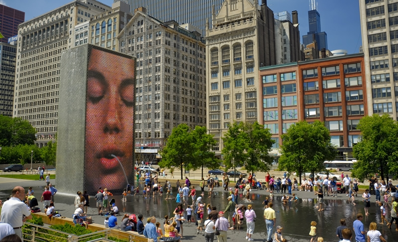 Crown Fountain by Jaume Plensa; photo from the City of Chicago site.