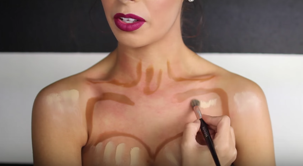 Next we are going to highlight. I like to use a bright concealer to really emphasize and highlight the areas that need to be bright. (which will make your chest appear bigger ;) All I did was basically add the highlight to the places where I didn't contour and blend blend blend.