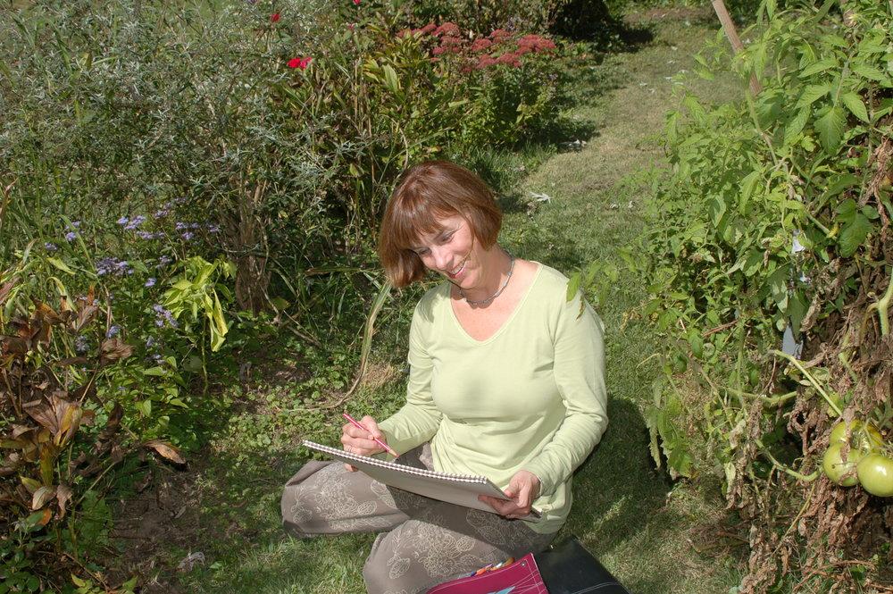 Tina Sketching in the garden