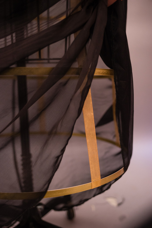 Close Up of Silk Georgette Over Metal Boning Crinoline