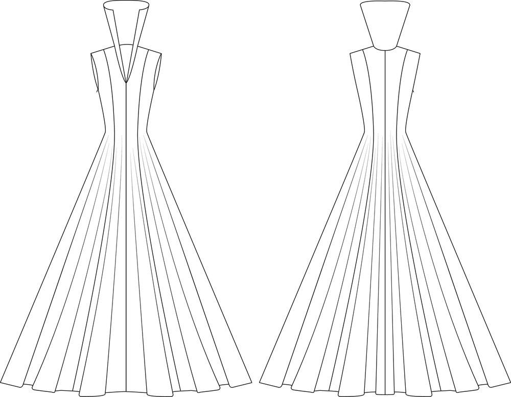 Flat Sketch of Dress Before Applique