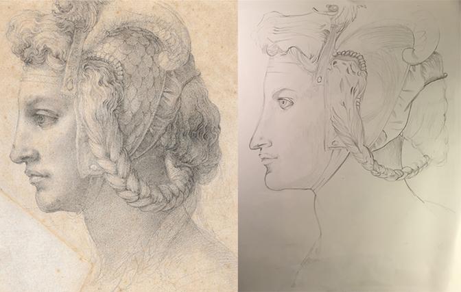 Master Study in Graphite    Left is Original, Right is Graphite Replication