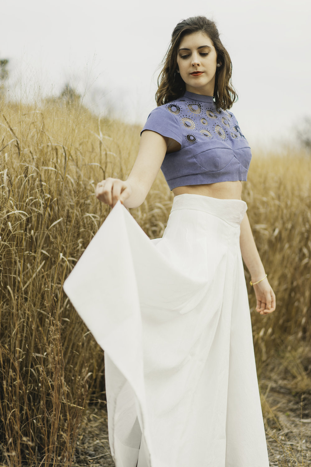Laser Cut Lace Top with Full Skirt