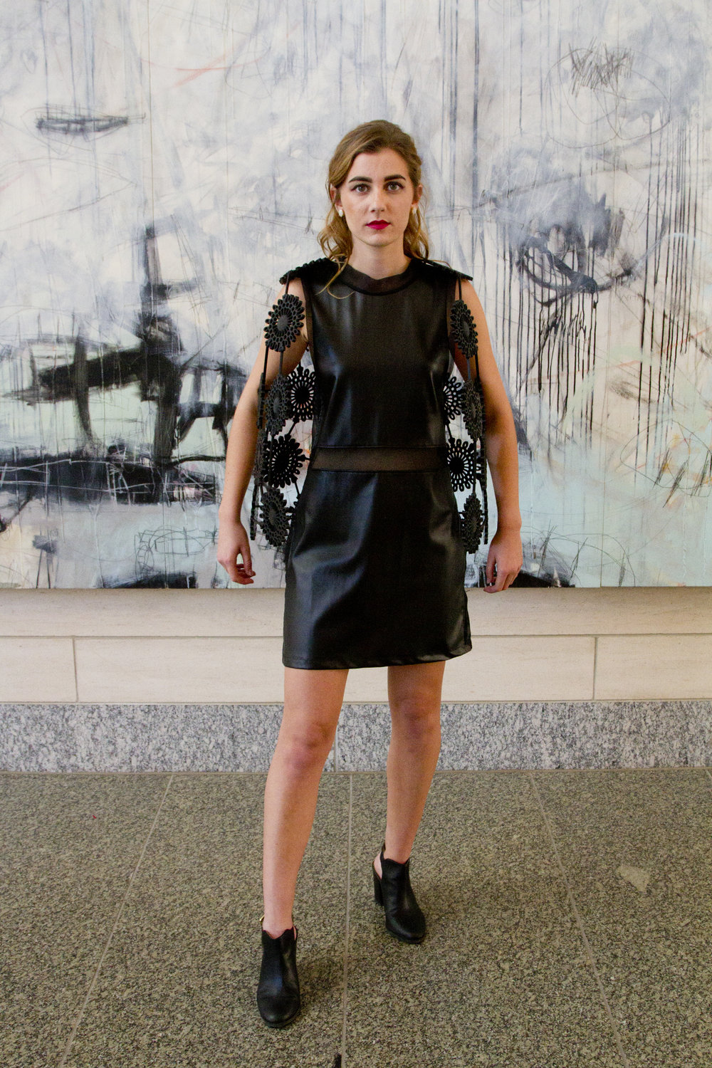 3D Printed Vest Over Faux Leather Dress with Silk Organza Panels
