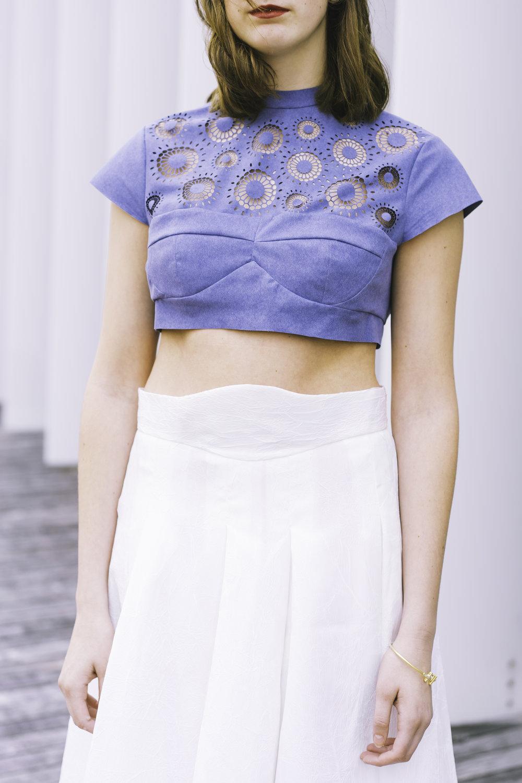 Laser Cut Top with Champion Belt Waistband Skirt