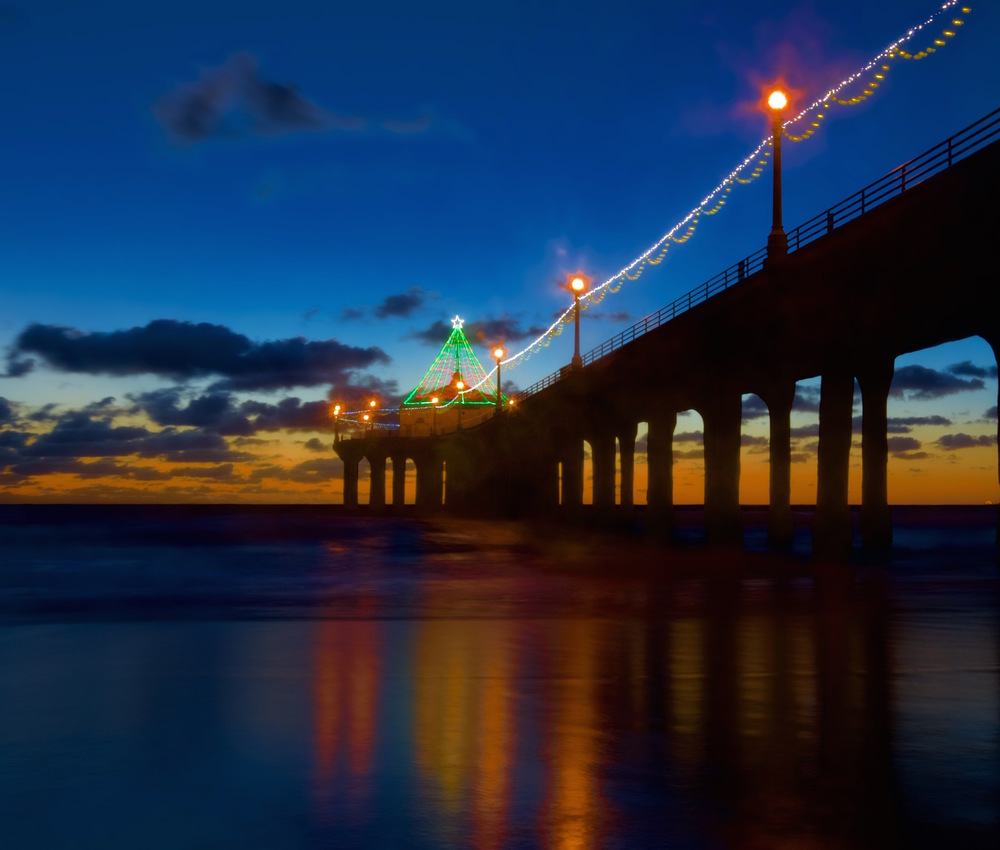 Well, it's not very cold here in SoCal but we do love to put lights on things during the holidays. Here's the Manhattan Beach pier in full holiday mode!