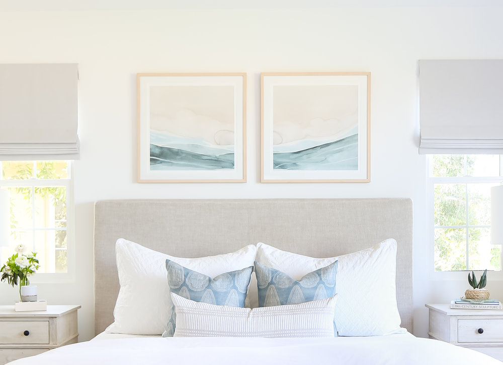 Sea Land Sky Prints in room designed by Kym Maloney. Photo by Ryan Garvey.