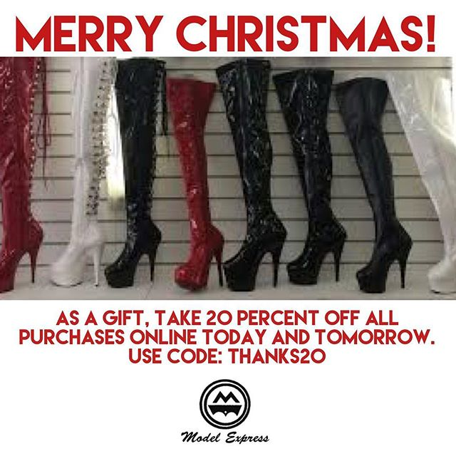 Thanks for all your support this year! As a thanks, take 20% off everything online today and tomorrow. We're closed today, but come in to the store tomorrow and get 20% off everything in store as well!  Thanks! Lee.  #merrychristmas #modelexpress #vancouver #vancity #vancitybuzz #boxingday #sale #vancouversale #sexy #lingerie #shoes #heels #sales #deals