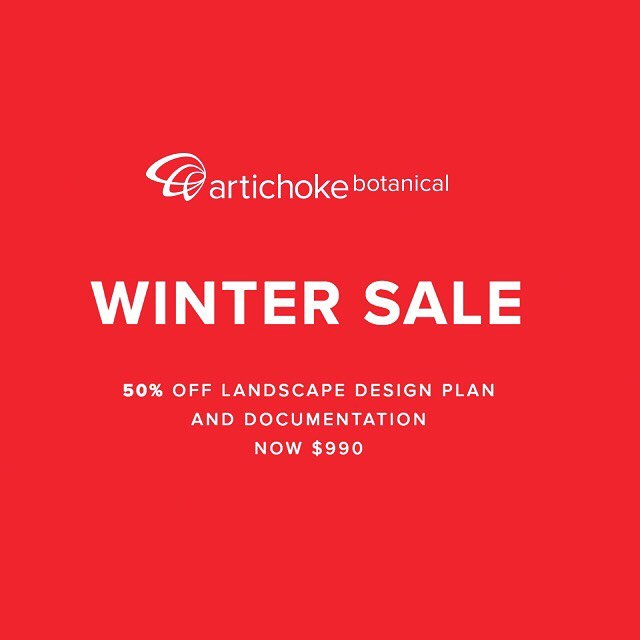 50% OFF WINTER SALE LANDSCAPE DESIGN  NORMALLY $1980 NOW $990  Includes:  On site consultation Design construction styling  Landscape design plan to scale ( DA approval-ready ) Colour consult Plant selection Horticultural materials and finishes Lighting consult.  http://www.artichokebotanical.com.au/sale/