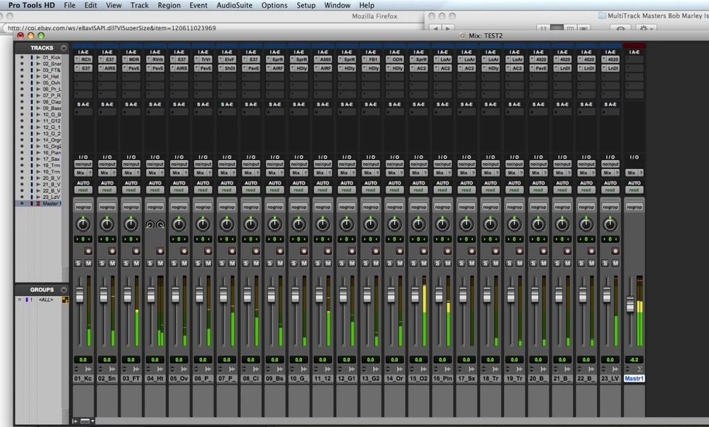 Figure 1: a Pro Tools mix in action - the small grey squares at the top of the strips are inserted effects.