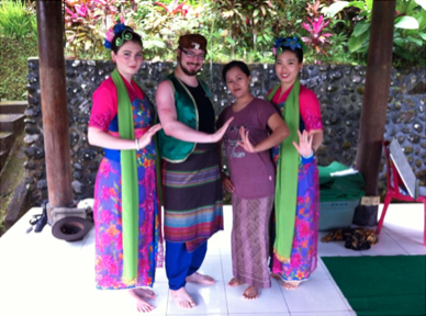 In Bali, Indonesia with my gamelan dance teacher in traditional dress (I'm on far left)