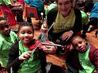 With students from the 'Orchkids' program in Baltimore