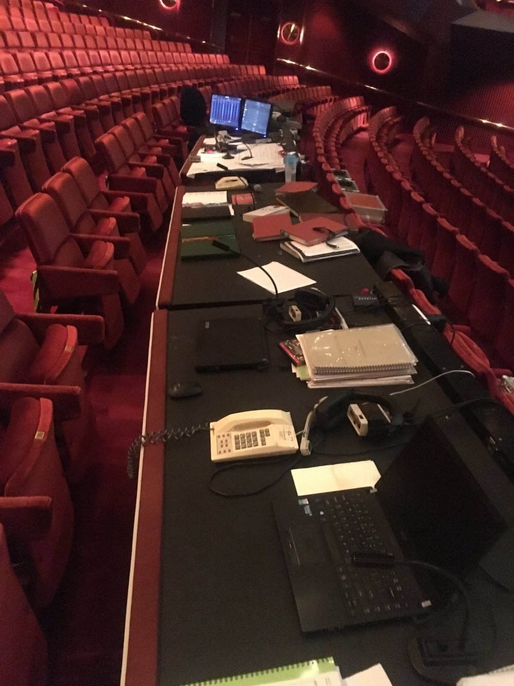 The production desks in the theatre