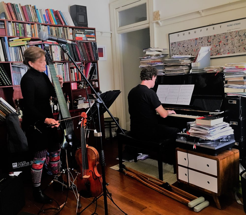 Jenny Eriksson and Matt McMahon rehearsing for Vivid. Jenny and Matt's friendship developed in jazz clubs long before they started playing together.