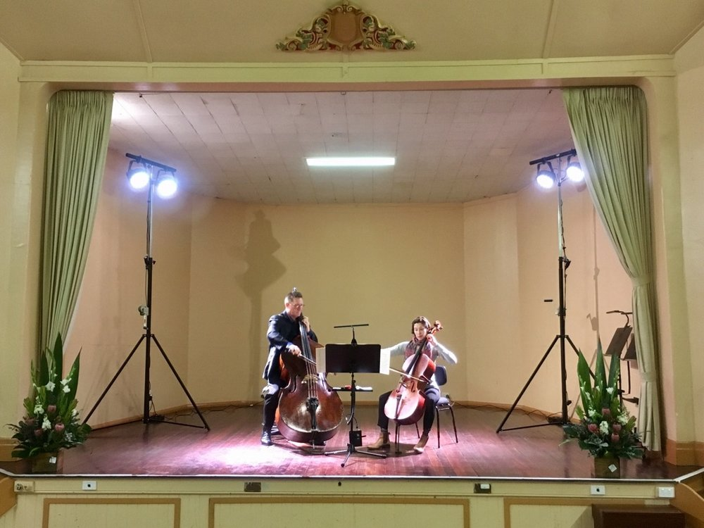 Josephine Vains and Stuart Riley in rehearsal at Elmore Memorial Hall during Orchestra Victoria's Bendigo Festival.