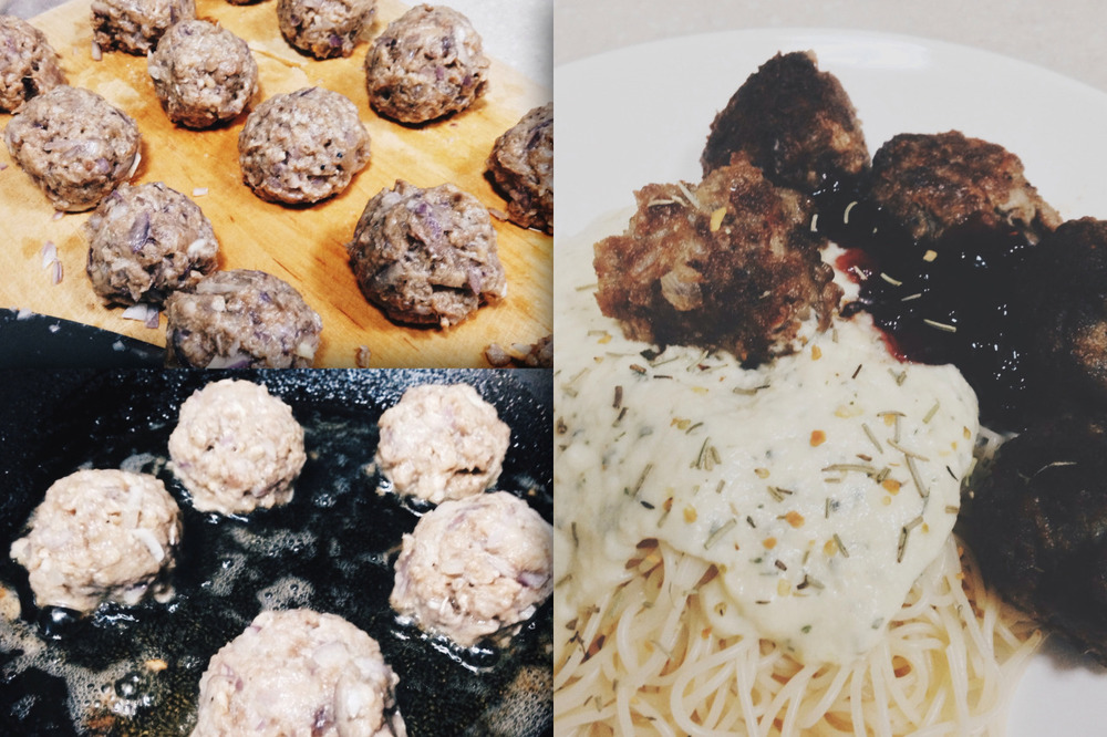 So last Wednesday, I prepared a homemade Swedish Meatball Carbonara for dinner. It turned out to be easier than expected! All you needed was a pack of minced beef (or in my case, I used beef patty). Defrost that shit up, slice and dice some onions, throw in some herbs (or you could season them in salt and pepper) and roll them up in a ball. As tempting as it may seem, you shouldn't roll them up into big chunks as it'll be harder to cook them on the inside. Lastly, roll them in the pan! There you have it, you just got served. Enjoy!