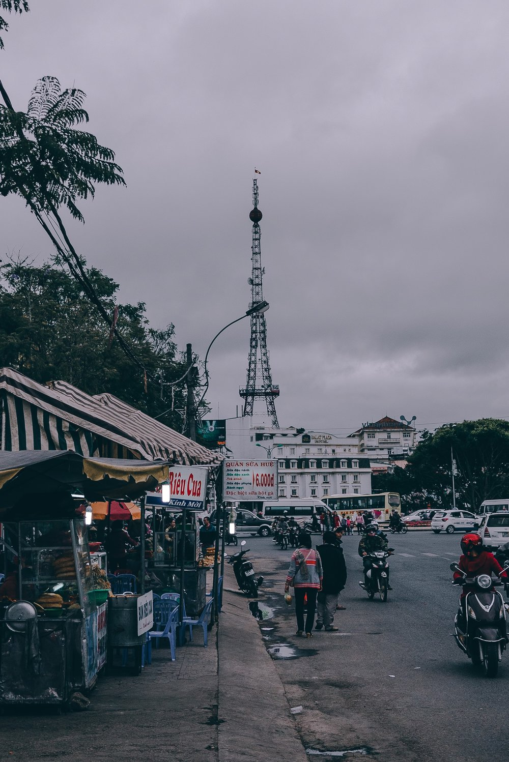 A mini replica of the Eiffel Tower built right smack in the middle of the entire town.
