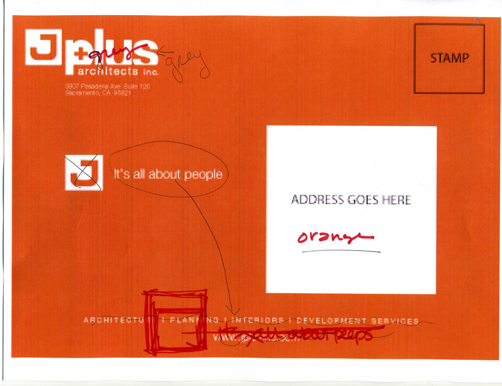 The process was long, yet rewarding. This is a scan of notes that were written by the clients on the post card design.