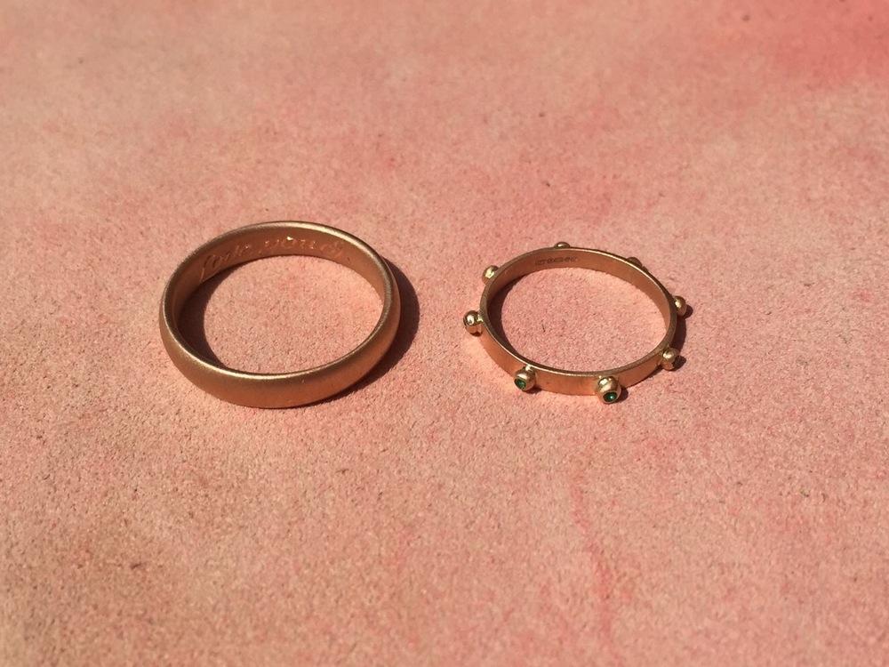 Wedding Band & emerald Eternity ring