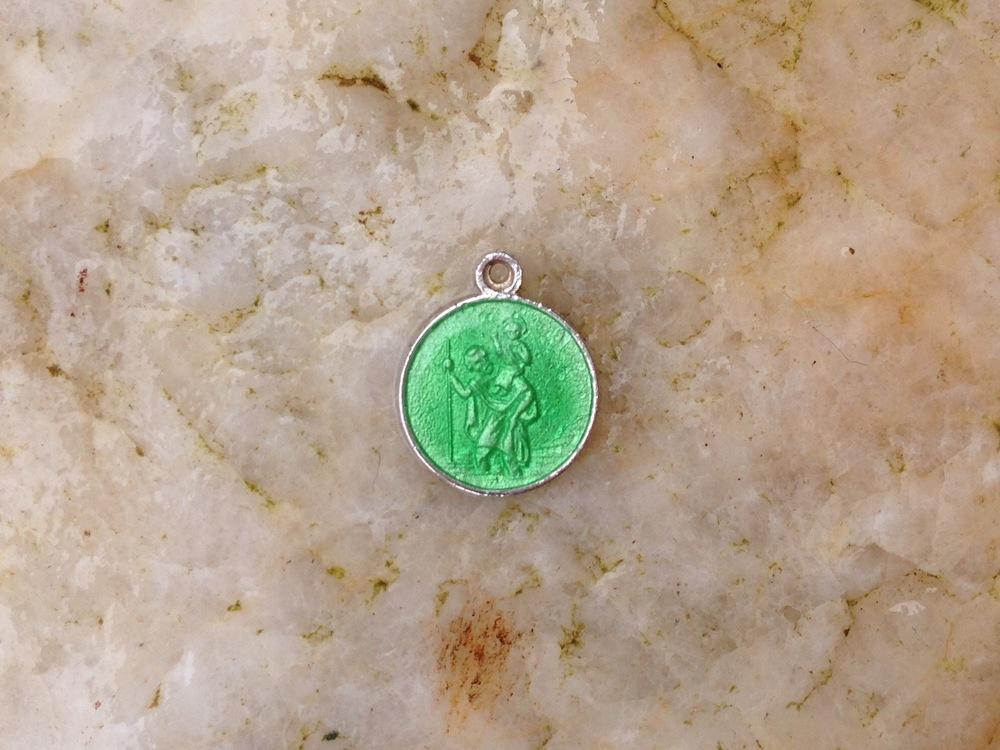 sea green enameled st christopher